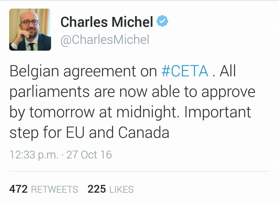 Il tweet del Premier belga Charles Michel che comunica il raggiungimento dell'accordo.